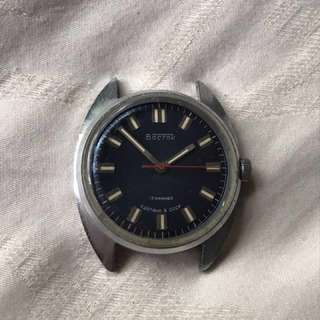 Vostok blue dial wind up watch