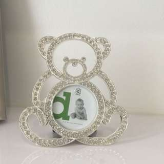 Silver bear picture framed