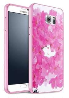 Samsung Note 4 & 5、Galaxy S6、S6e 粉紅玫瑰貓  金屬邊框  超輕手機殼 特價$75