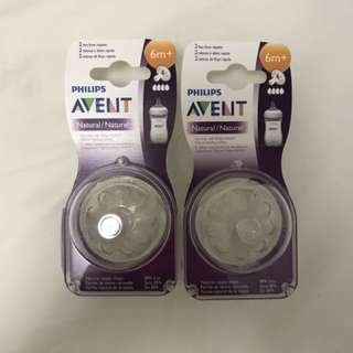 Brand New Avent Natural Teats 4 Holes 6m+