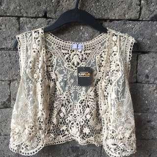 Crochet Vest with Lace Comb