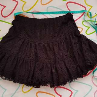 Girl Teen skirt short black lace age 12 and up