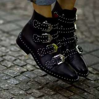 Rare Givenchy Buckle-strap Studded Ankle Boots (Free International Shipping)