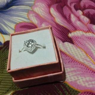 Authentic silver ring with heart stone