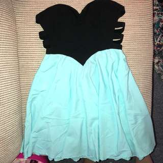 Pretty teal and black mini dress