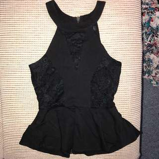 Black lace frilled top size XS never worn