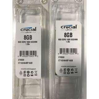 Crucial 8GB DDR3 SODIMM modules