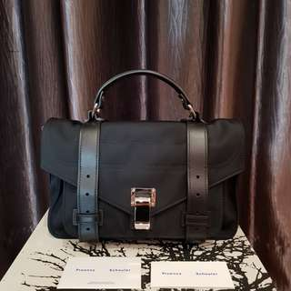 Proenza Schouler PS1 Tiny. Black Nylon and Leather. Silver Hardware. AUTHENTIC.