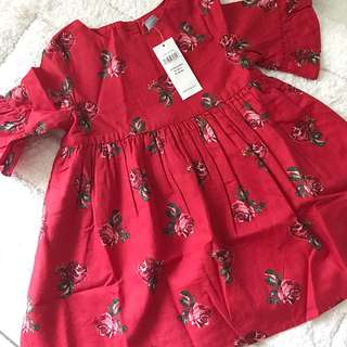 BN GAP Baby Girl Rose Bell Sleeves Ruffled Dress 12-18mths & 18-24mths available!