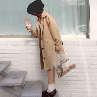 韓國款微傘型可束袖卡其乾濕褸TRENCH COAT