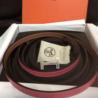 Hermes belt (Rose lipstick and gold)