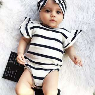 Newborn Baby Girl Short Sleeves Striped Romper 🍀