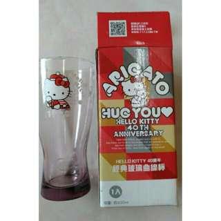🚚 hello kitty 40週年經典玻璃曲線杯(1990)