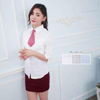 🚚 免燙制服女襯衫 細折壓線七分袖彈性襯衫《SEZOO襯衫殿 高雄店家》001003672