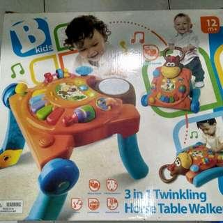 Bkids 3in1 twinkling horse table walker