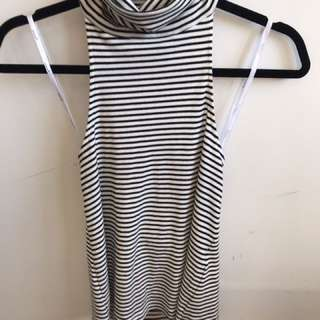 MINK PINK Striped High Neck Backless Top