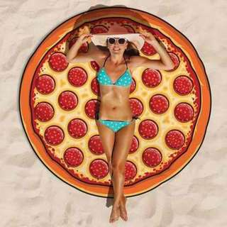 Round Beach Towel Pizza Design Red