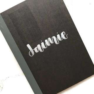 customised embossed notebook / quotes