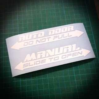 Auto/Manual Door Sticker