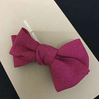 韓國桃紅緞帶蝴蝶結布面髮夾