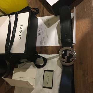 GUCCI belt, box, pouch, ribbon, receipt & paper bag!
