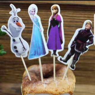 Frozen Elsa/anna Cupcake Cake Jelly Toppers Pick Party Birthday Baby Decoration