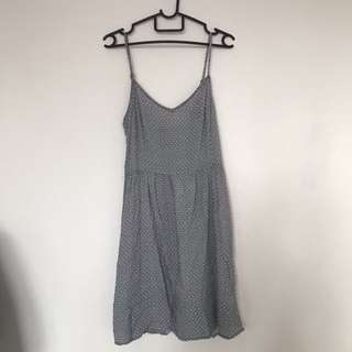 Casual grey floral dress with adjustable straps