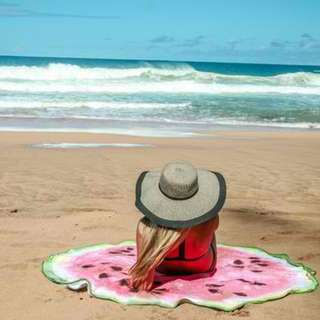 Round Beach Towel Watermelon Design Pink