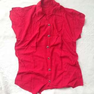tol blouse merah