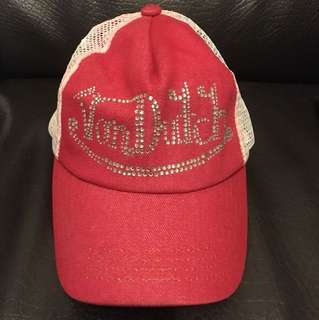 Von Dutch Rhinestone Red and White Cap