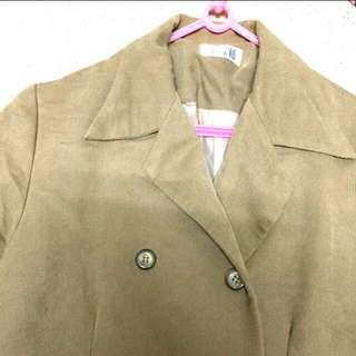 🚚 駝色長袖長板大衣外套#可換物#大掃除五折