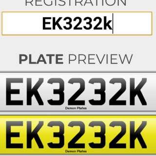 Car plate ek3232k
