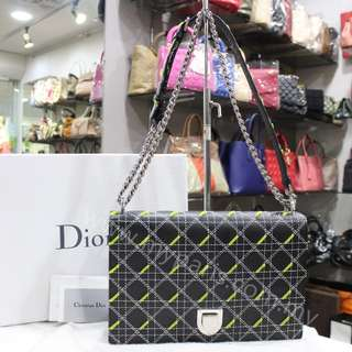 Christian Dior Black Smooth Tufted Calfskin Diorama Large Flap