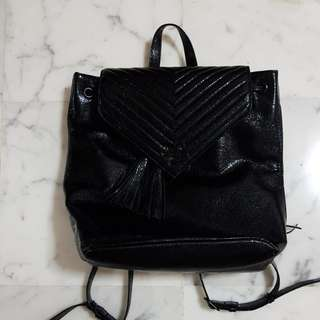 BN Victoria Secret Quilted Metallic Black Backpack
