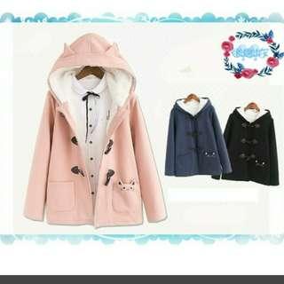 🚚 日系保暖貓咪粉色大衣外套