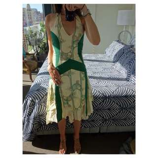 Stunning Georgiadis Halterneck Dress - Green & Cream