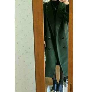 🌸 韓國 Noicy 深綠毛呢長褸 coat
