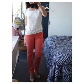 IKKS Slim Jeans - Coral Colour, Size 27