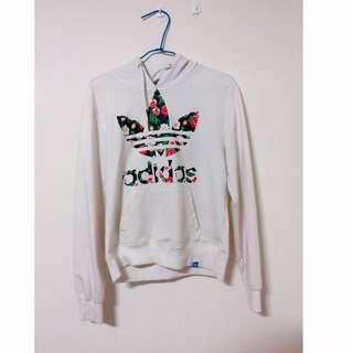 🚚 愛迪達Adidas 白色短版玫瑰上衣帽T
