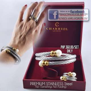Twisted Cable Bangle (Double Wrap) with Pearl + FREE Matching Ring