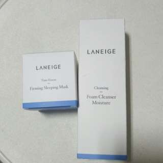 Laneige cleanser and firming sleeping mask