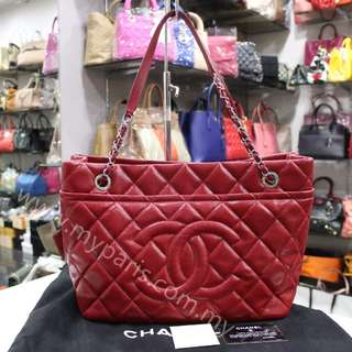 Chanel Red Caviar Timeless CC Caviar Medium Shopper Tote