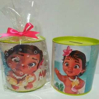 Customised Baby Moana Theme 100mm Coin Bank Pack