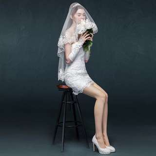 Instock - short wedding veil, 1 layer without comb