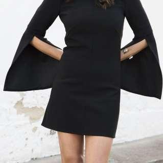 White suede black mini dress split flare sleeve