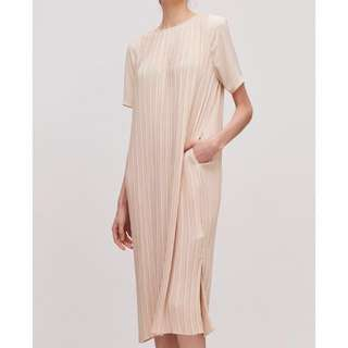 Our Second Nature Pleated Shift Dress - Nude