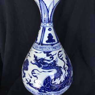 Ming dynasty B n W vase with dragon n clouds .48 cm high . Authentic Early Ming artwork . Special offer 9000 only