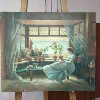 油畫室內人物
