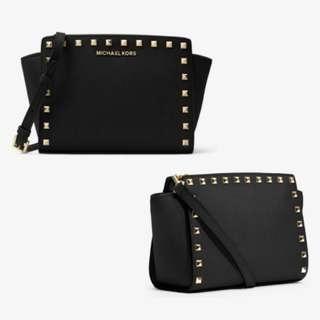 Michael Michael Kors Selma Medium Studded Leather Messenger