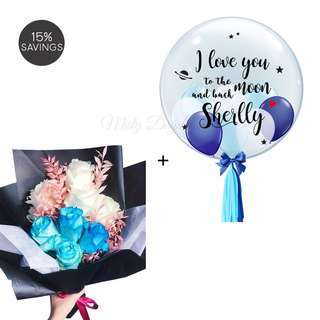 Valentines Day Flower Bouquet and Helium Balloons Combo
